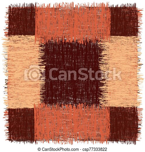 Rustic square rug with grunge striped rough elements in brown, orange colors isolated on white - csp77333822