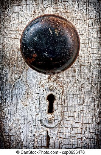 Rustic Vintage Doorknob On Antique Door Background