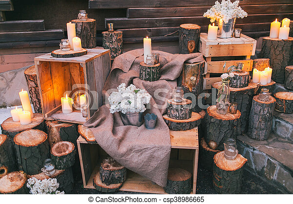 Rustic Wedding Decor Decorated Stairs With Sumps And Lilac Arrangements Canstock