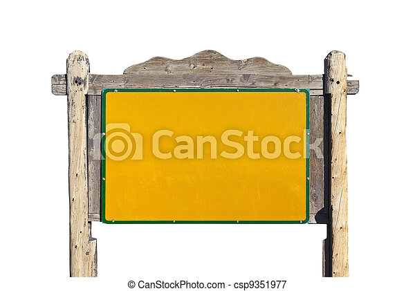 Rustic Western Blank Message Sign Isolated - csp9351977
