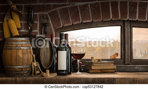 Rustic wine cellar in the countryside - csp53127842