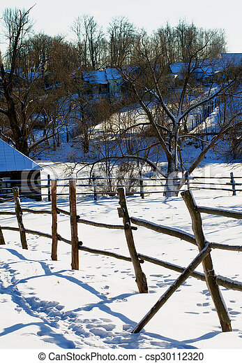 Rustic Winter Landscape In Old Village With Wooden Fence On Big