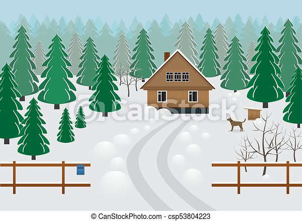 Rustic Wooden House In A Forest Area Winter