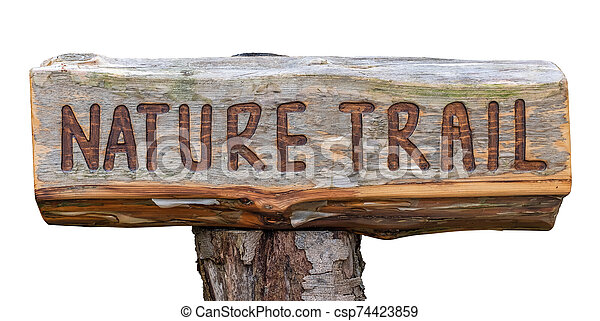 Rustic Wooden Nature Trail Sign - csp74423859