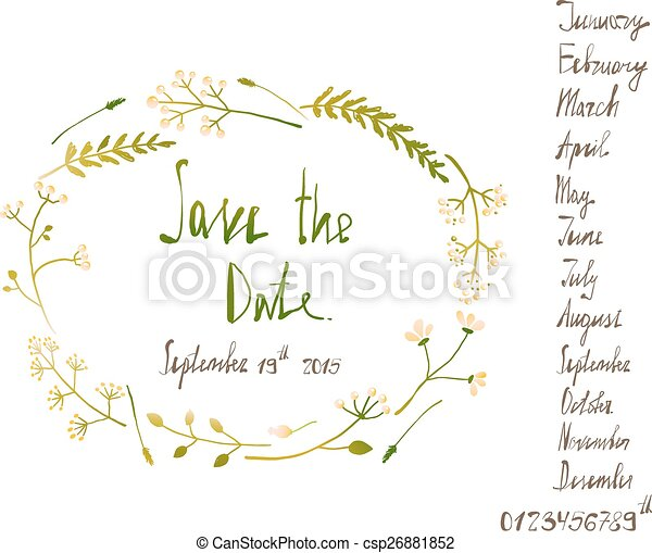 Rustic Wreath Save The Date Invitation Card With Inky Calligraphy On White