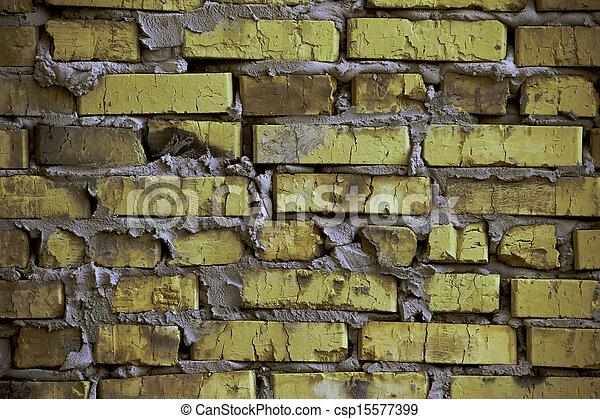 Rustic yellow-green brick wall / background - csp15577399