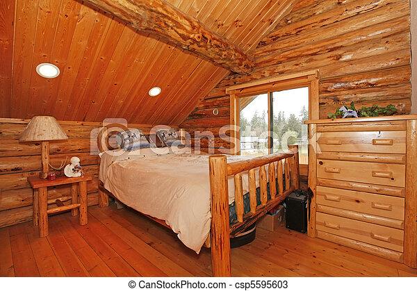 Rustico montagna capanna di tronchi camera letto montagna