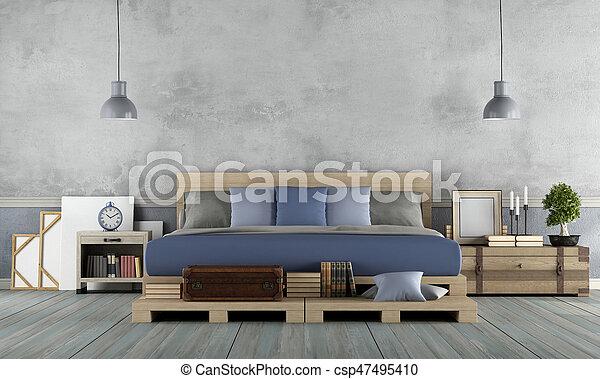 Rustiek, stijl, meester, slaapkamer. Rustiek, stijl, dubbel ...