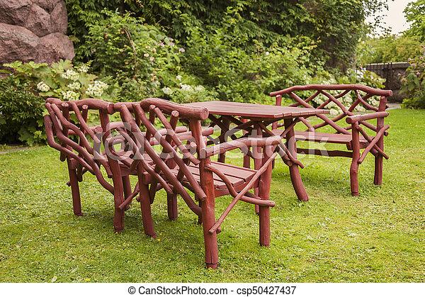 rustique, bois, meubles jardin