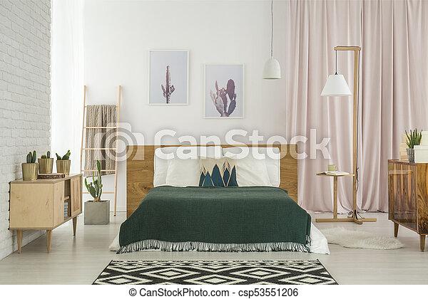 rustique, bois, mobilier chambre