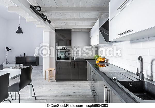 rustique, plafond, moderne, cuisine