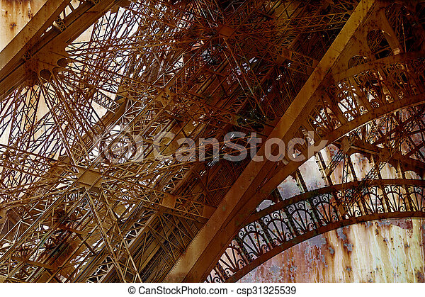 Rusty background with Eiffel tower 6 - csp31325539