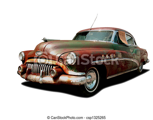 Rusty Buick Derelict Vintage Car With For Sale Sign On Stock - Buick stock
