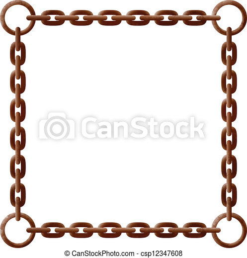 Rusty chain frame - csp12347608