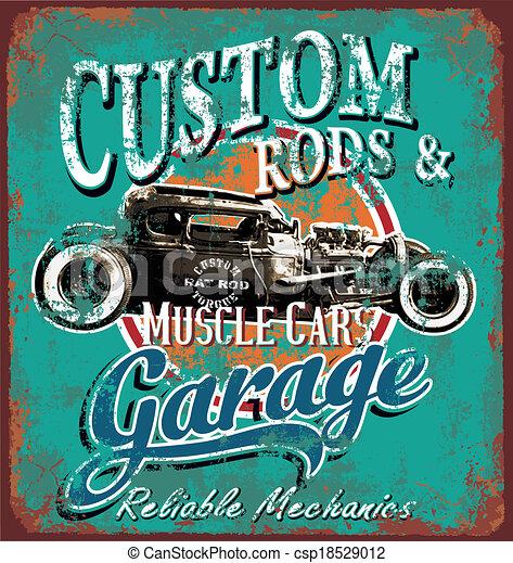 rusty hot rod garage - csp18529012