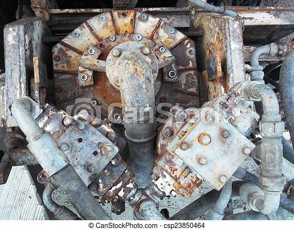 rusty industrial engine - csp23850464