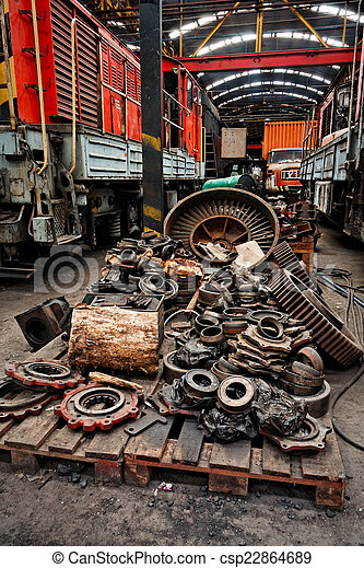 Rusty industrial machine parts - csp22864689