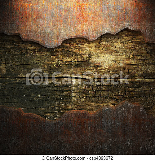 rusty metal and wood plate  - csp4393672