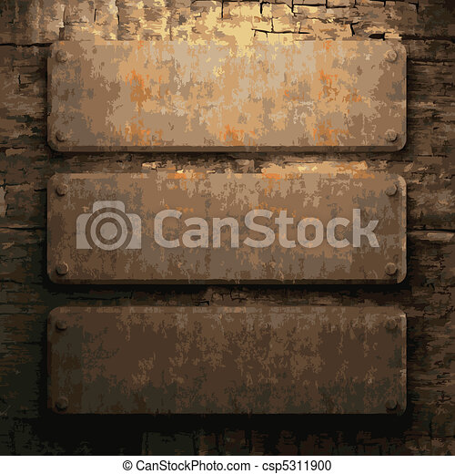 Metal And Wood Artwork Amazing Rusty Metal And Wood Plate Made In Vector Vector Clipart  Search Design Decoration