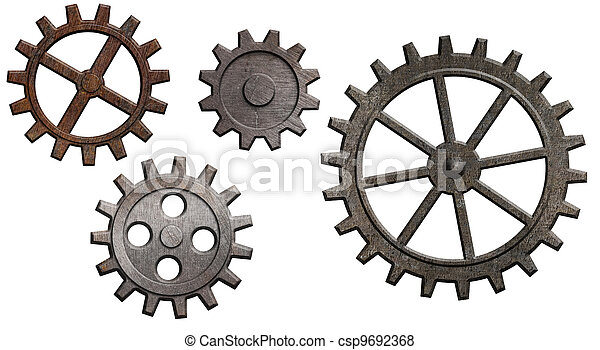 rusty metal gears set isolated on white - csp9692368
