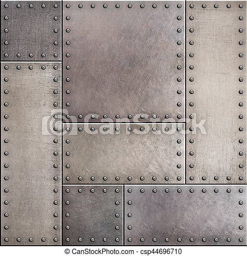Rusty Metal Plates With Rivets Seamless Background Or