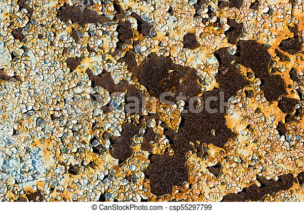 Rusty metal with peeling cracked paint texture Rusty metal with