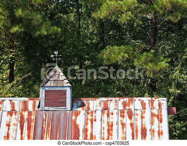 Rusty Tin Roof Cupola And Weathervane   Csp4703625