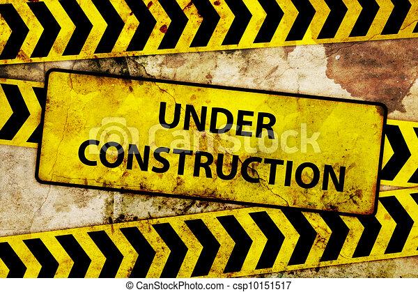 Rusty Under Construction Sign Stock Illustration