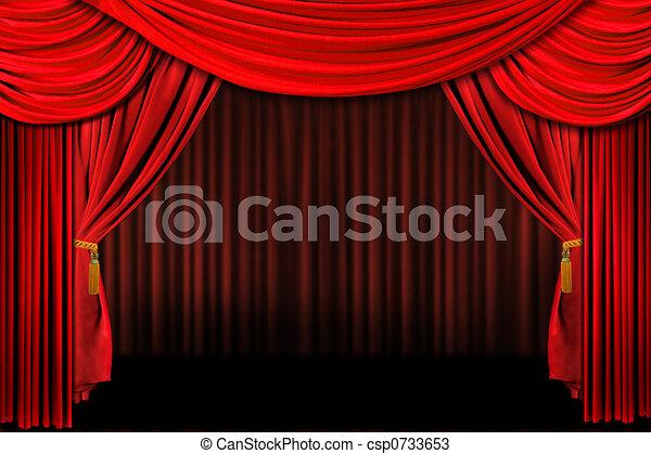 rusztowanie, teatr, czerwony, drapuje - csp0733653