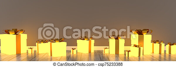rutor, gåva, rum, tom, glödande - csp75233388