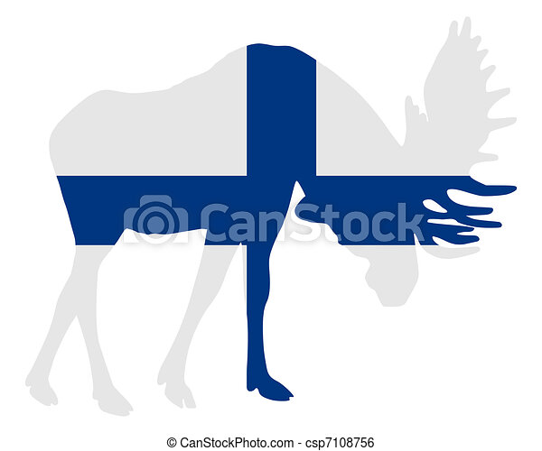 Rutting moose in finnish flag - csp7108756