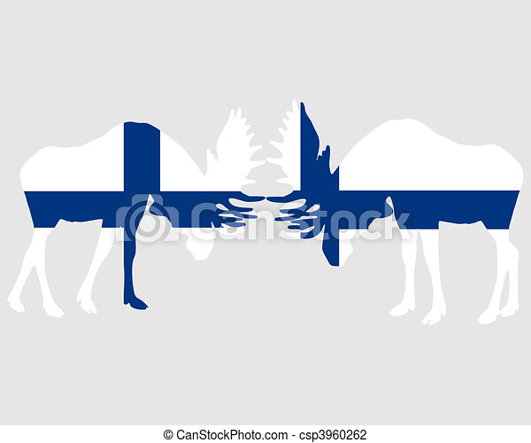 Rutting moose in finnish flags - csp3960262