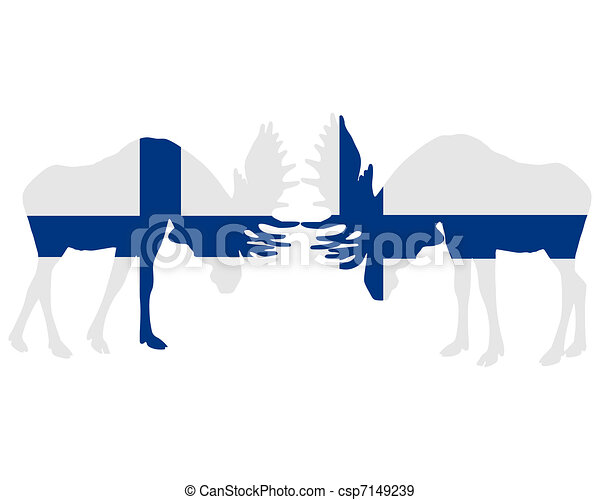 Rutting moose in finnish flags - csp7149239