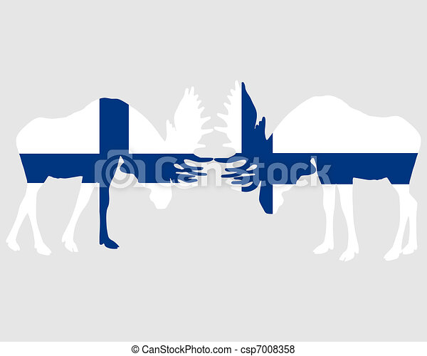 Rutting moose in finnish flags - csp7008358