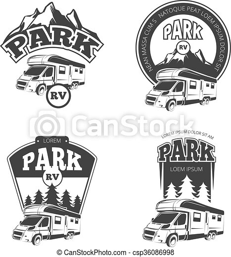 Rv and campers vector emblems, labels, badges, logos set ...