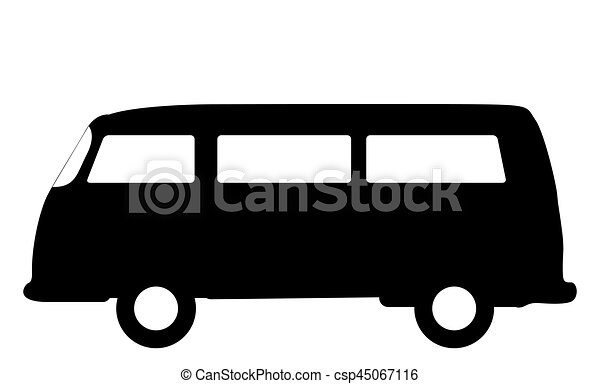 An Rv Camper Van Silhouette Isolated On A White Background Vector