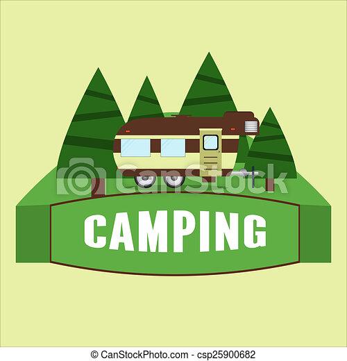 RV Camping Illustration Vector