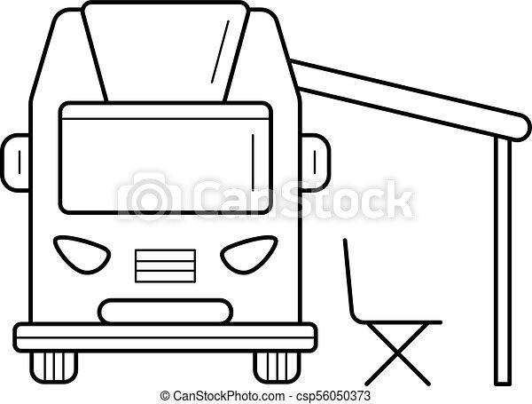 RV Camping Motorhome Line Icon