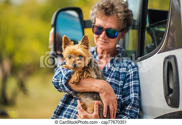 RV Road Trip with Dog - csp77670351