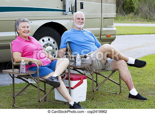 RV Seniors Relaxing Outdoors - csp2419962