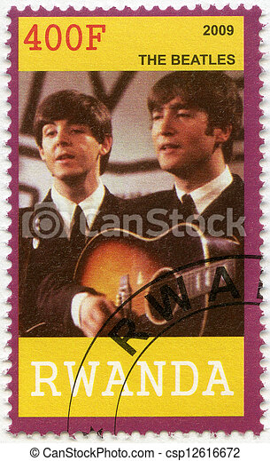 RWANDA - CIRCA 2009: A stamp printed in Republic of Rwanda shows The Beatles, John Lennon and Paul McCartney, circa 2009 - csp12616672