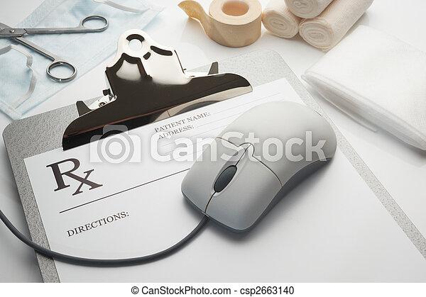 rx, klembord, recept, concept, online - csp2663140