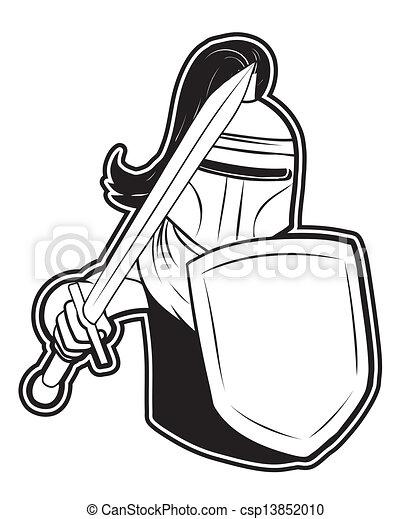 rycerz, biały, czarnoskóry, clipart - csp13852010