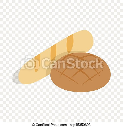 Rye bread and loaf isometric icon - csp45350603