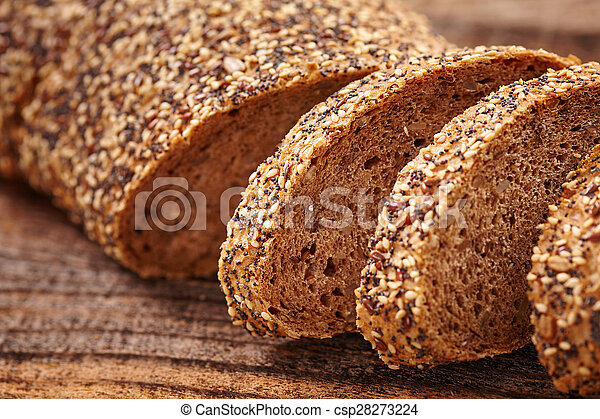 Rye bread with seeds - csp28273224