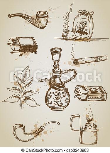 rykande cigarrett, ikonen - csp8243983