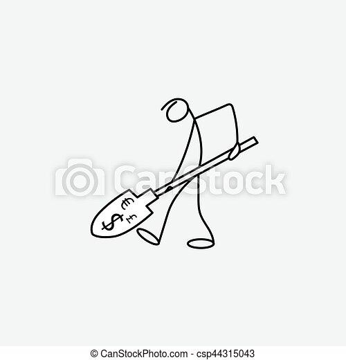 rys, figura, handlowy, pieniądze, wtykać człowieka, rysunek, ikona - csp44315043