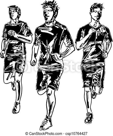 rys, mężczyźni, runners., ilustracja, wektor, maraton - csp10764427