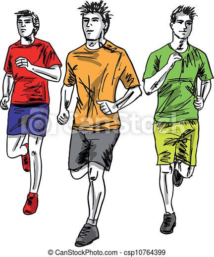 rys, mężczyźni, runners., ilustracja, wektor, maraton - csp10764399