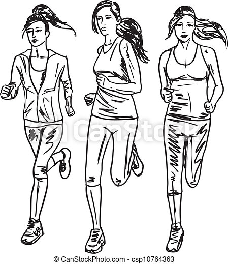 rys, runners., ilustracja, wektor, maraton, kobiety - csp10764363